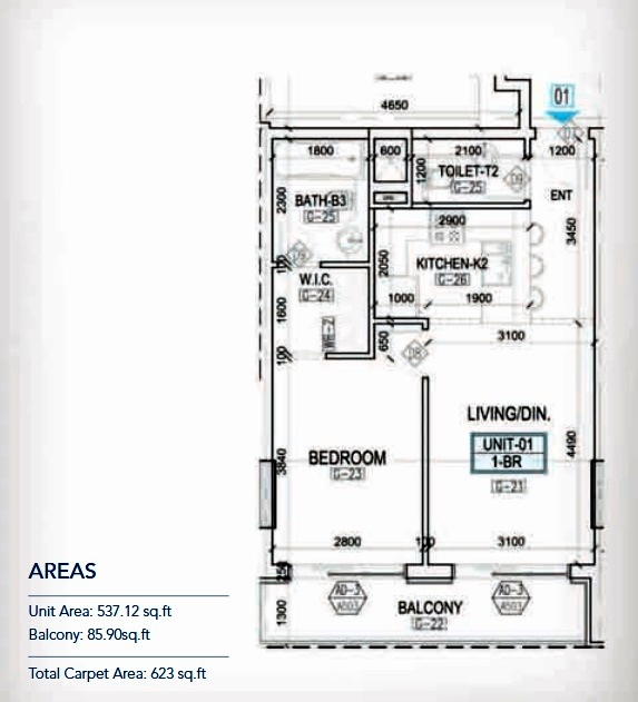 Planning of the apartment 1BR, 537.12 in Kappa Acca 3, Dubai