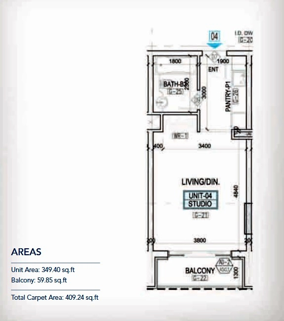 Planning of the apartment Studios, 349.4 in Kappa Acca 3, Dubai