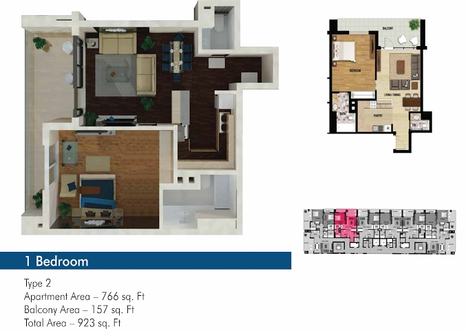 Planning of the apartment 1BR, 766 in The 50, Dubai