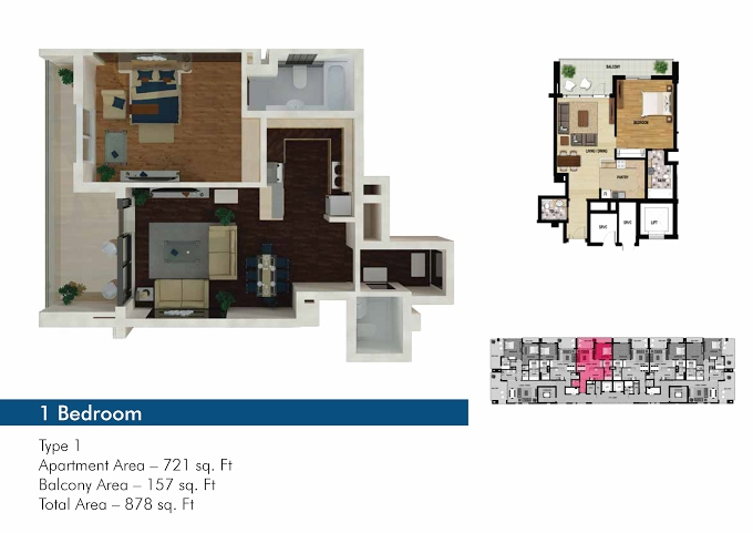 Planning of the apartment 1BR, 721 in The 50, Dubai