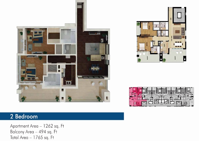 Planning of the apartment 2BR, 1262 in The 50, Dubai