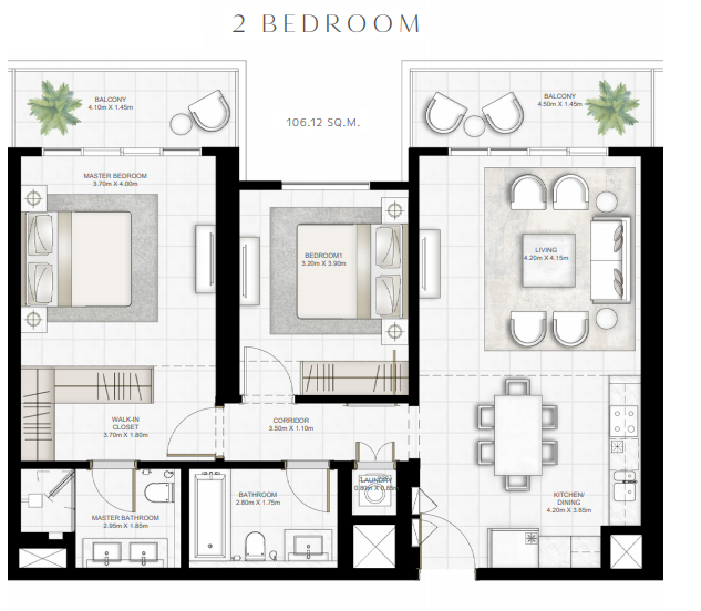 Planning of the apartment 2BR, 1142.26 in Sunrise Bay, Dubai