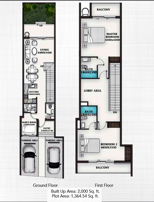 Planning of the apartment Townhouses 2BR, 2000 in Al Burooj Residence VII, Dubai