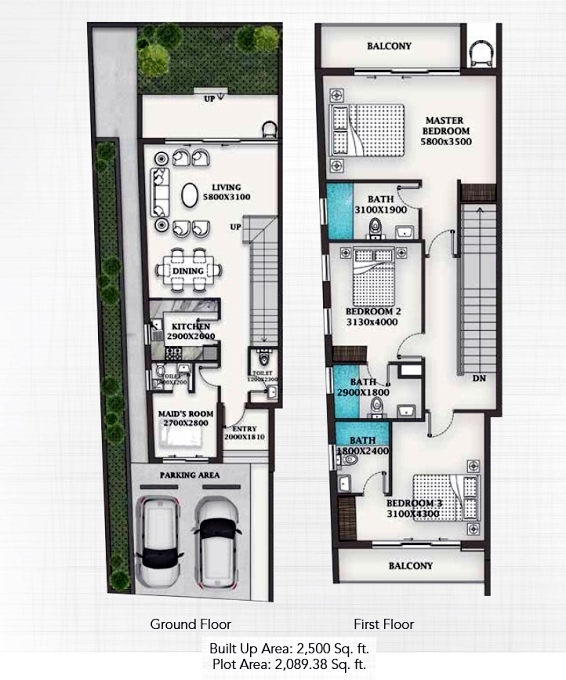 Planning of the apartment Townhouses 3BR, 2500 in Al Burooj Residence VII, Dubai