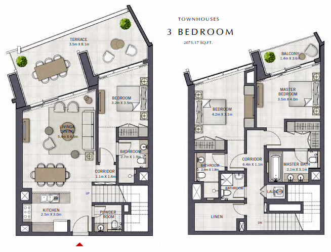 Planning of the apartment Townhouse, 2075.17 in The Grand, Dubai