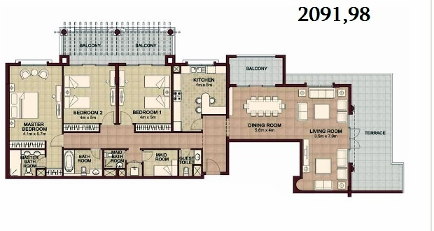 Planning of the apartment 3BR, 2091.98 in Ansam, Abu Dhabi