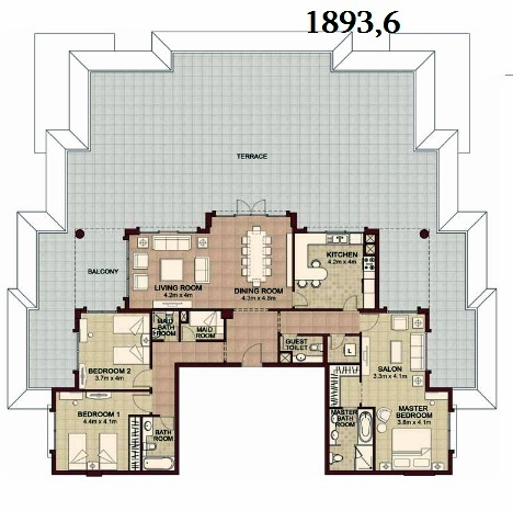 Planning of the apartment 3BR, 1893.6 in Ansam, Abu Dhabi