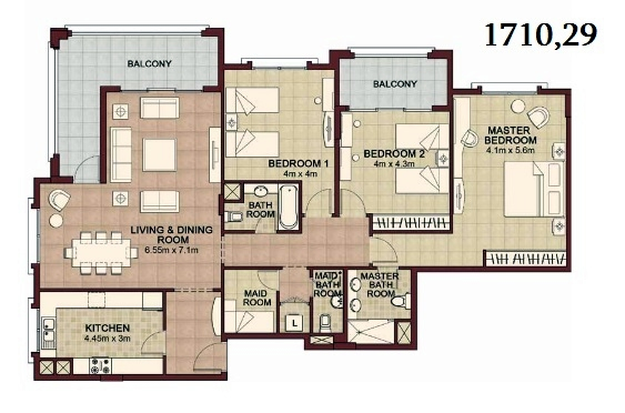 Planning of the apartment 3BR, 1710.29 in Ansam, Abu Dhabi