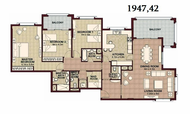 Planning of the apartment 3BR, 1947.42 in Ansam, Abu Dhabi
