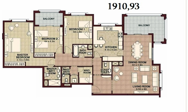 Planning of the apartment 3BR, 1910.93 in Ansam, Abu Dhabi