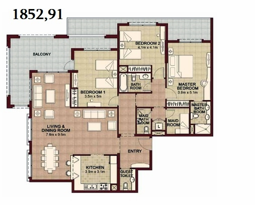 Planning of the apartment 3BR, 1852.91 in Ansam, Abu Dhabi