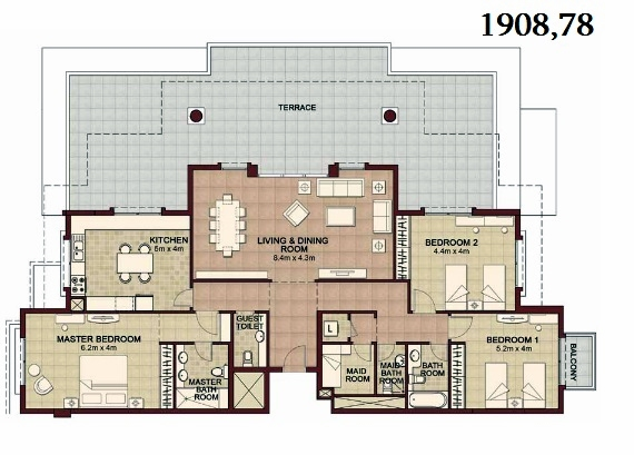 Planning of the apartment 3BR, 1908.78 in Ansam, Abu Dhabi