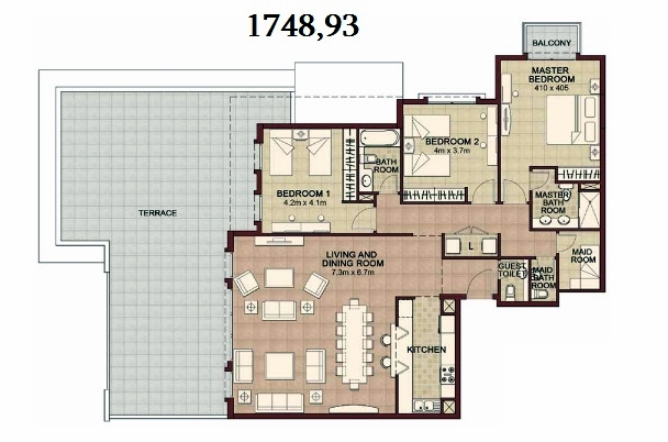 Planning of the apartment 3BR, 1748.93 in Ansam, Abu Dhabi