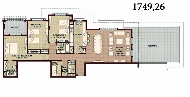 Planning of the apartment 3BR, 1749.26 in Ansam, Abu Dhabi