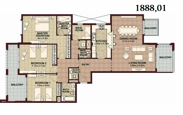 Planning of the apartment 3BR, 1888.01 in Ansam, Abu Dhabi