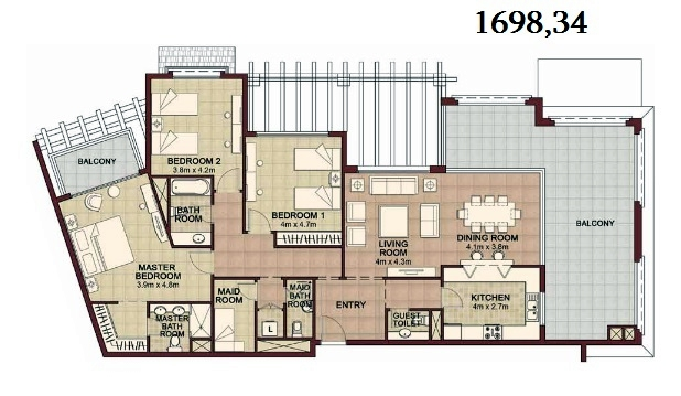 Planning of the apartment 3BR, 1698.34 in Ansam, Abu Dhabi