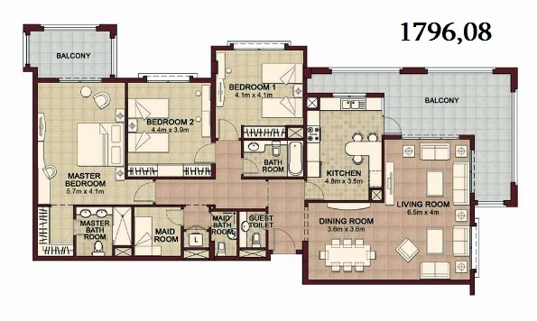 Planning of the apartment 3BR, 1796.08 in Ansam, Abu Dhabi