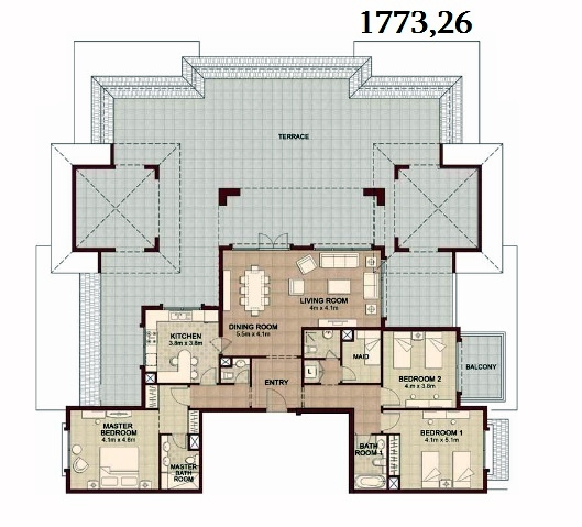 Planning of the apartment 3BR, 1773.26 in Ansam, Abu Dhabi