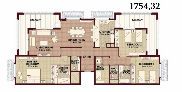 Planning of the apartment 3BR, 1754.32 in Ansam, Abu Dhabi
