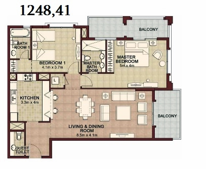 Planning of the apartment 3BR, 1248.41 in Ansam, Abu Dhabi