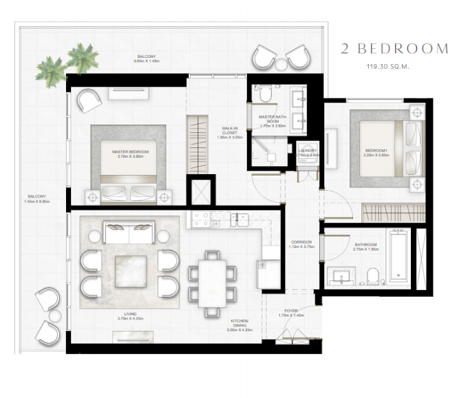 Planning of the apartment 2BR, 1284.14 in Sunrise Bay, Dubai