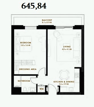 Planning of the apartment 1BR, 645.84 in Reflection, Abu Dhabi