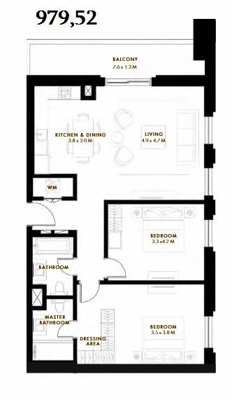 Planning of the apartment 2BR, 979.52 in Reflection, Abu Dhabi