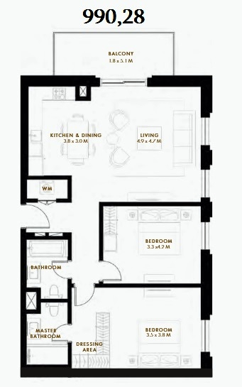 Planning of the apartment 2BR, 990.28 in Reflection, Abu Dhabi