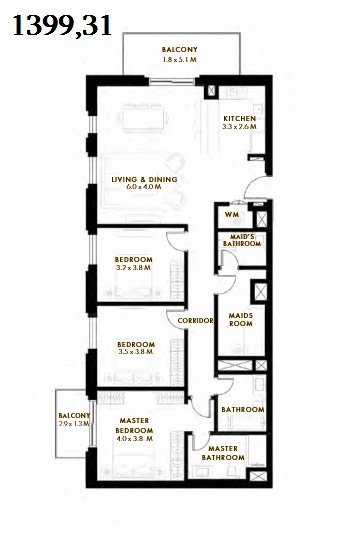 Planning of the apartment 3BR, 1399.31 in Reflection, Abu Dhabi