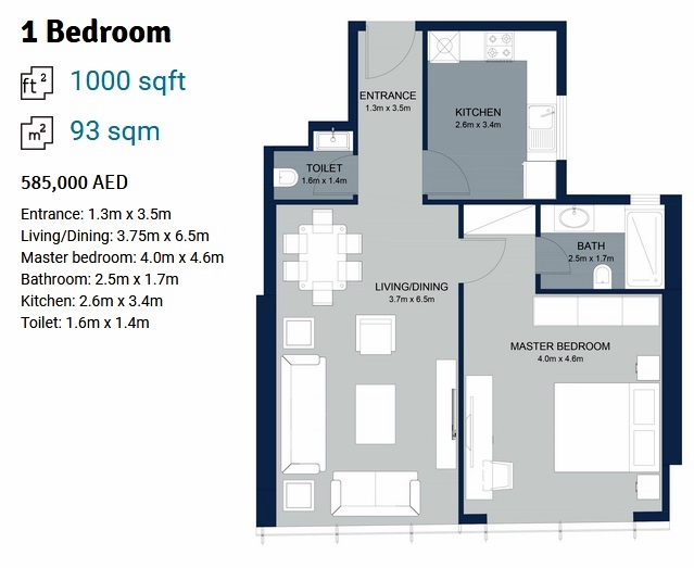 Planning of the apartment 1BR, 1000 in La Plage Tower, Sharjah
