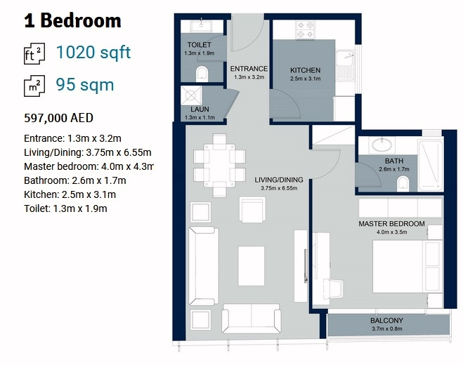 Planning of the apartment 1BR, 1020 in La Plage Tower, Sharjah