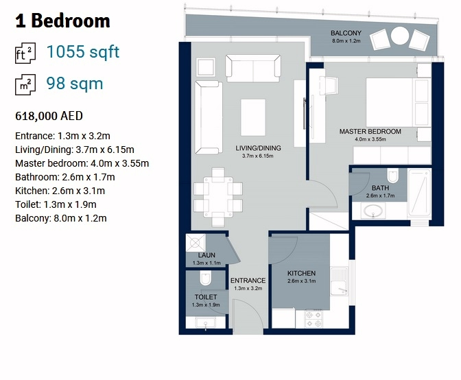 Planning of the apartment 1BR, 1055 in La Plage Tower, Sharjah
