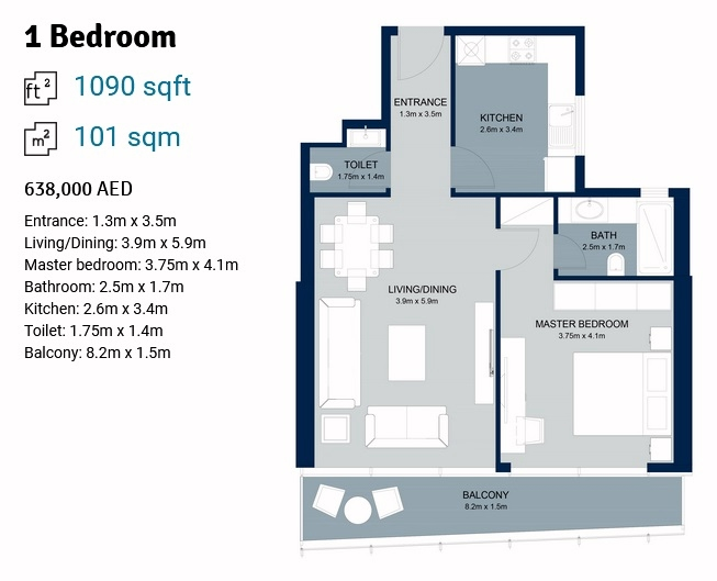 Planning of the apartment 1BR, 1090 in La Plage Tower, Sharjah