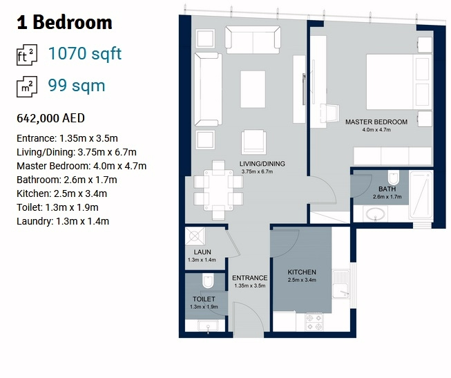 Planning of the apartment 1BR, 1070 in La Plage Tower, Sharjah