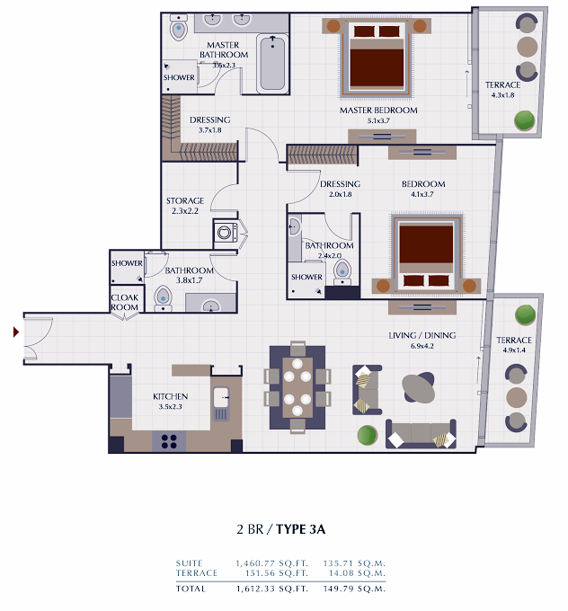 Planning of the apartment 2BR, 1612.33 in Park Gate Residences, Dubai