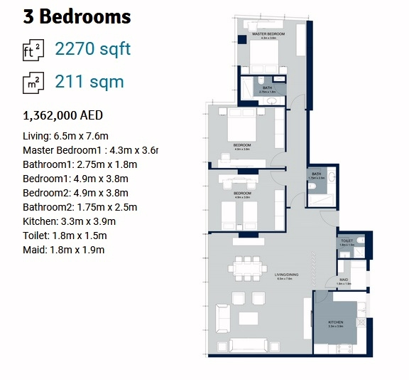 Planning of the apartment 3BR, 2270 in La Plage Tower, Sharjah