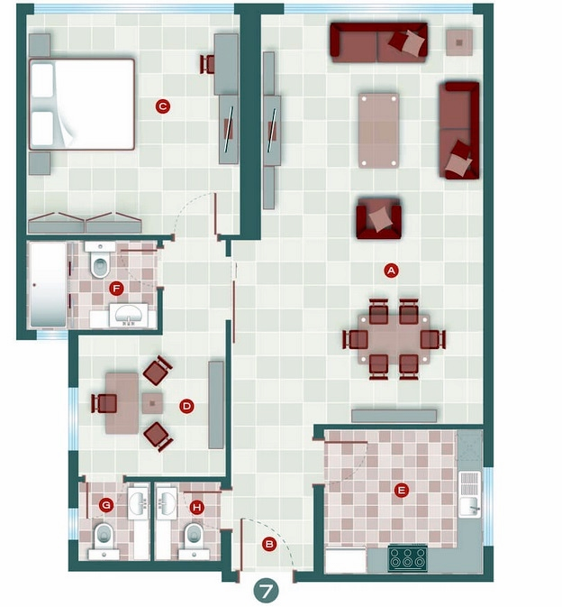 Planning of the apartment 1BR, 1220 in Sahara Tower, Sharjah
