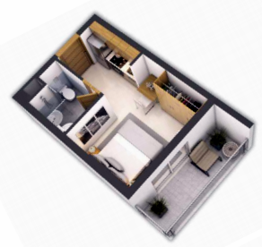 Planning of the apartment Studios, 293 in Navitas at Akoya Oxygen, Dubai