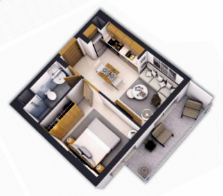 Planning of the apartment 1BR, 423 in Navitas at Akoya Oxygen, Dubai