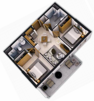 Planning of the apartment 2BR, 698 in Navitas at Akoya Oxygen, Dubai