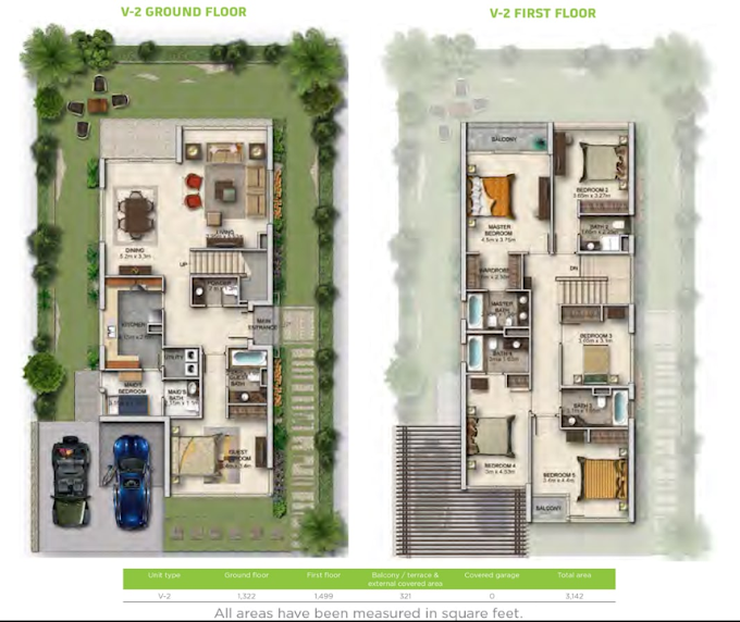 Planning of the apartment Villa 6BR, 2998.72 in Vardon, Dubai