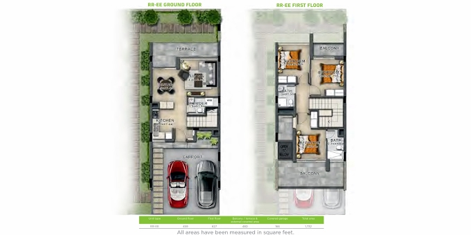 Planning of the apartment Villas 3BR, 1732 in Basswood, Dubai