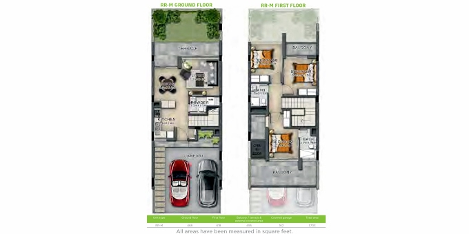 Planning of the apartment Villas 3BR, 1703 in Basswood, Dubai