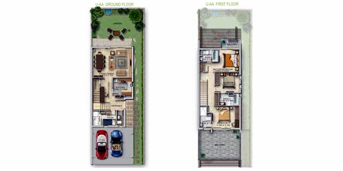 Planning of the apartment Villas 3BR, 1750 in Centaury, Dubai