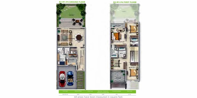 Planning of the apartment Villas 4BR, 2712 in Mulberry at Akoya, Dubai