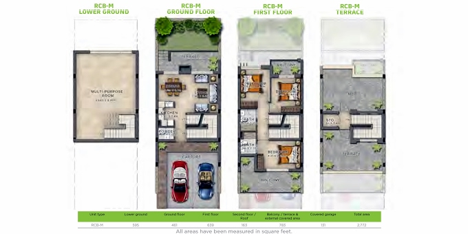 Planning of the apartment Villas 3BR, 2772 in Aquilegia, Dubai