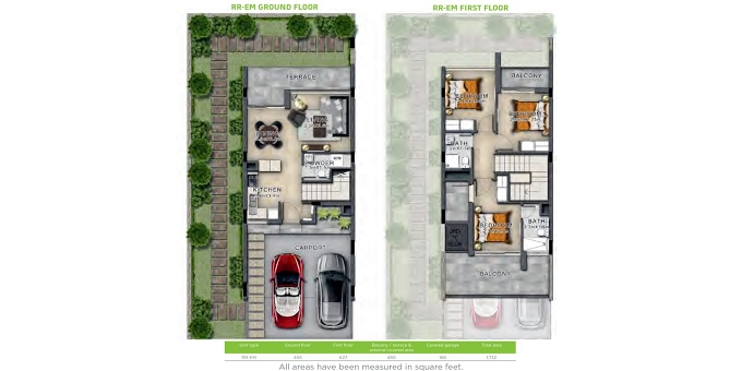 Planning of the apartment Villas 3BR, 1732 in Amargo, Dubai