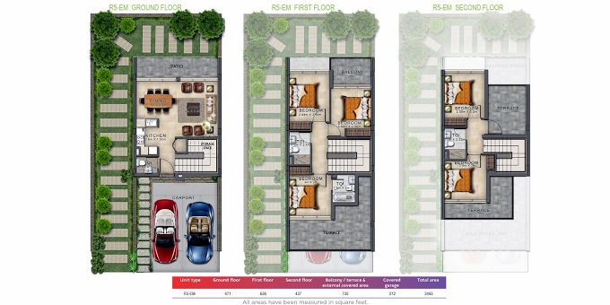 Planning of the apartment Villas 5BR, 2493 in Amargo, Dubai