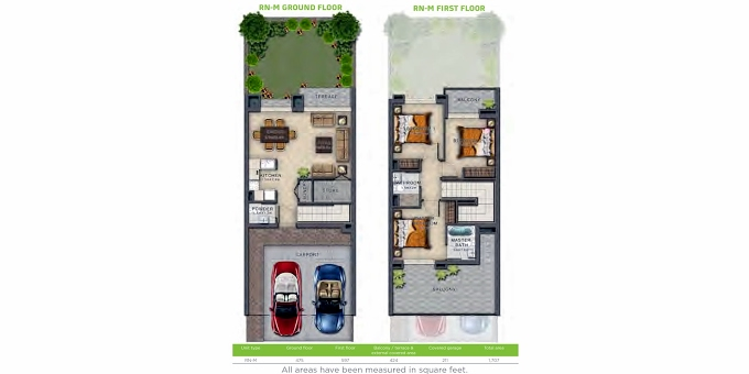 Planning of the apartment Villa 3BR, 1707 in Victoria, Dubai