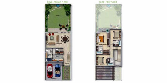 Planning of the apartment Villa 3BR, 1827 in Sanctnary, Dubai